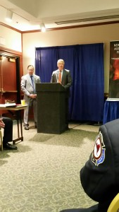 State Sens. Joseph Griffo and Phil Boyle address FASNY leadership and others on Fire Service Government Affairs Day in Albany.