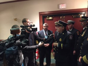 FASNY President Robert N. McConville speaks with the press May 4 during Fire Service Government Affairs Day in Albany.